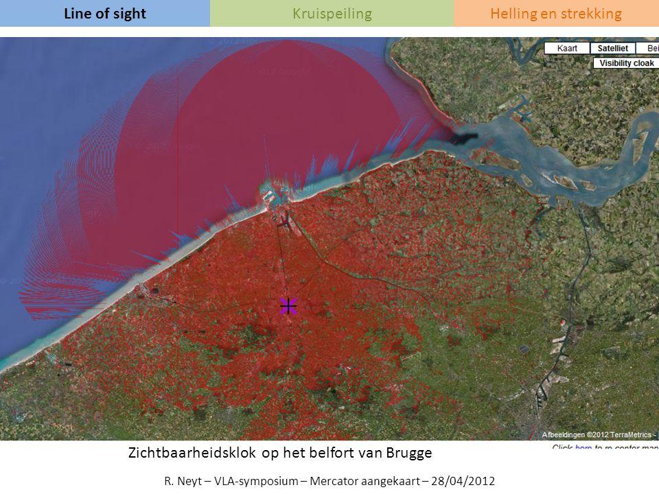Line of sightKruispeilingHelling en strekking Zichtbaarheidsklok op het belfort van Brugge R. Neyt – VLA-symposium – Mercator aangekaart – 28/04/2012
