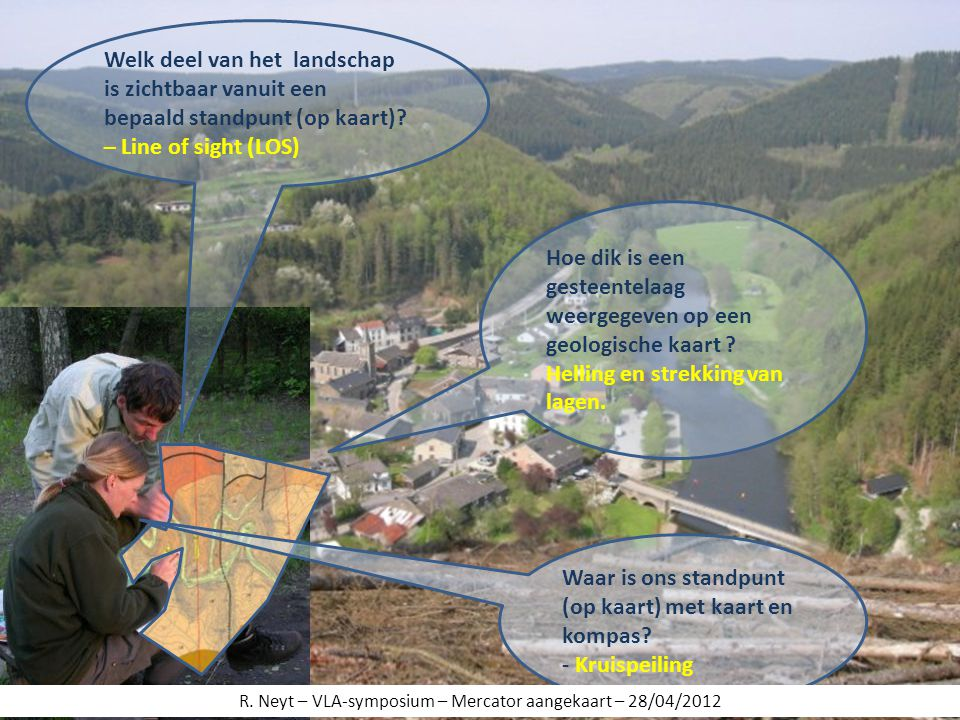 Welk deel van het landschap is zichtbaar vanuit een bepaald standpunt (op kaart)? – Line of sight (LOS) Hoe dik is een gesteentelaag weergegeven op ee