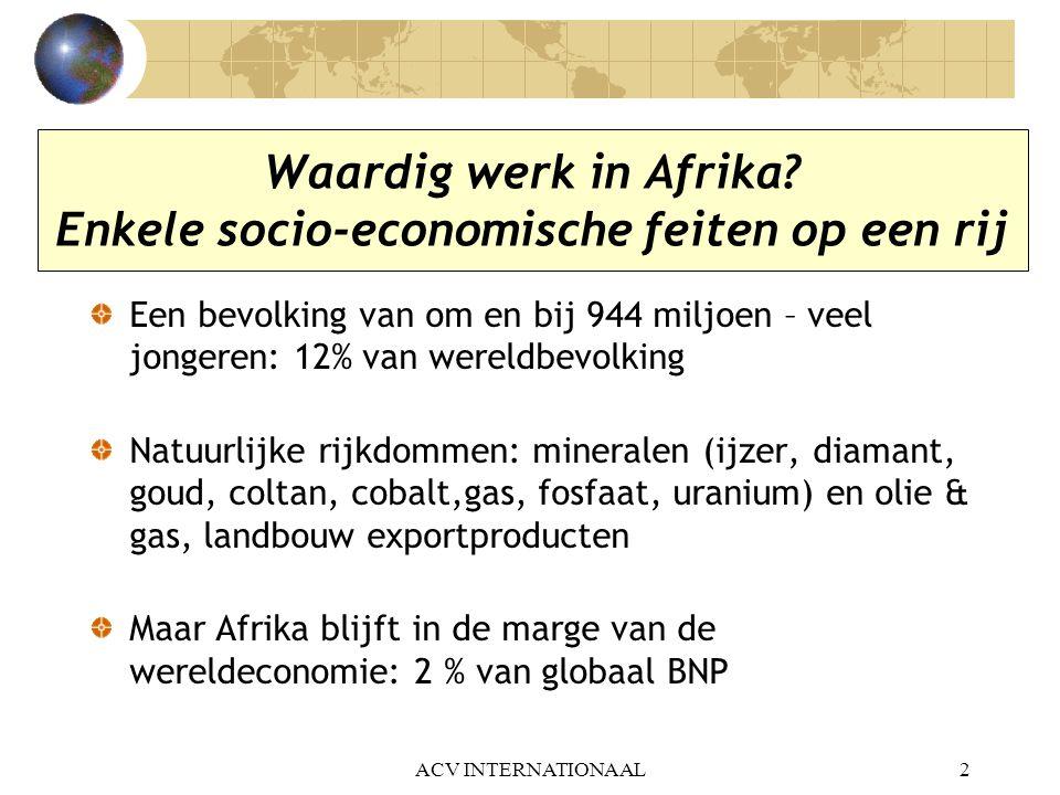 ACV INTERNATIONAAL2 Waardig werk in Afrika? Enkele socio-economische feiten op een rij Een bevolking van om en bij 944 miljoen – veel jongeren: 12% va