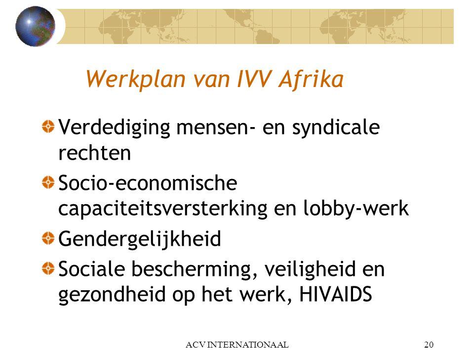 Werkplan van IVV Afrika Verdediging mensen- en syndicale rechten Socio-economische capaciteitsversterking en lobby-werk Gendergelijkheid Sociale besch