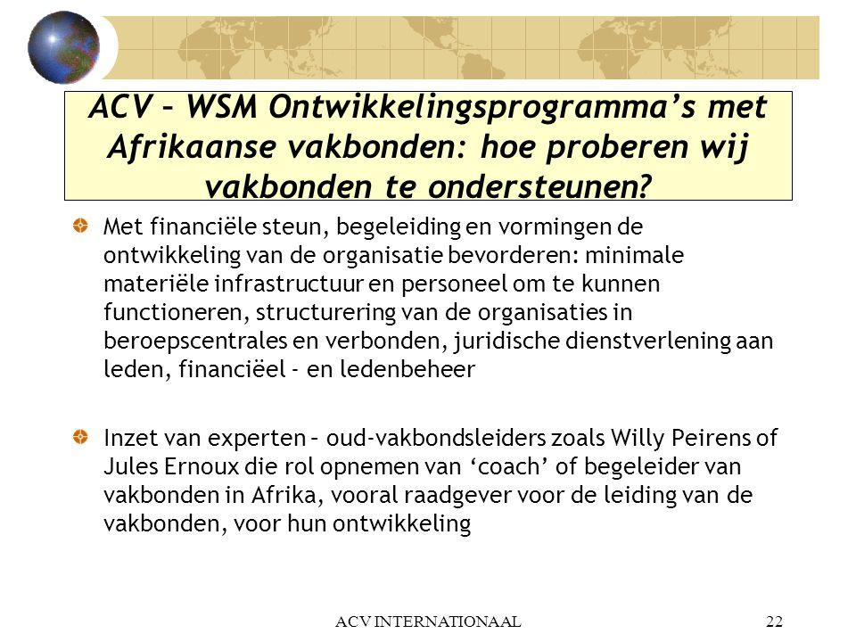 ACV INTERNATIONAAL22 ACV – WSM Ontwikkelingsprogramma's met Afrikaanse vakbonden: hoe proberen wij vakbonden te ondersteunen? Met financiële steun, be