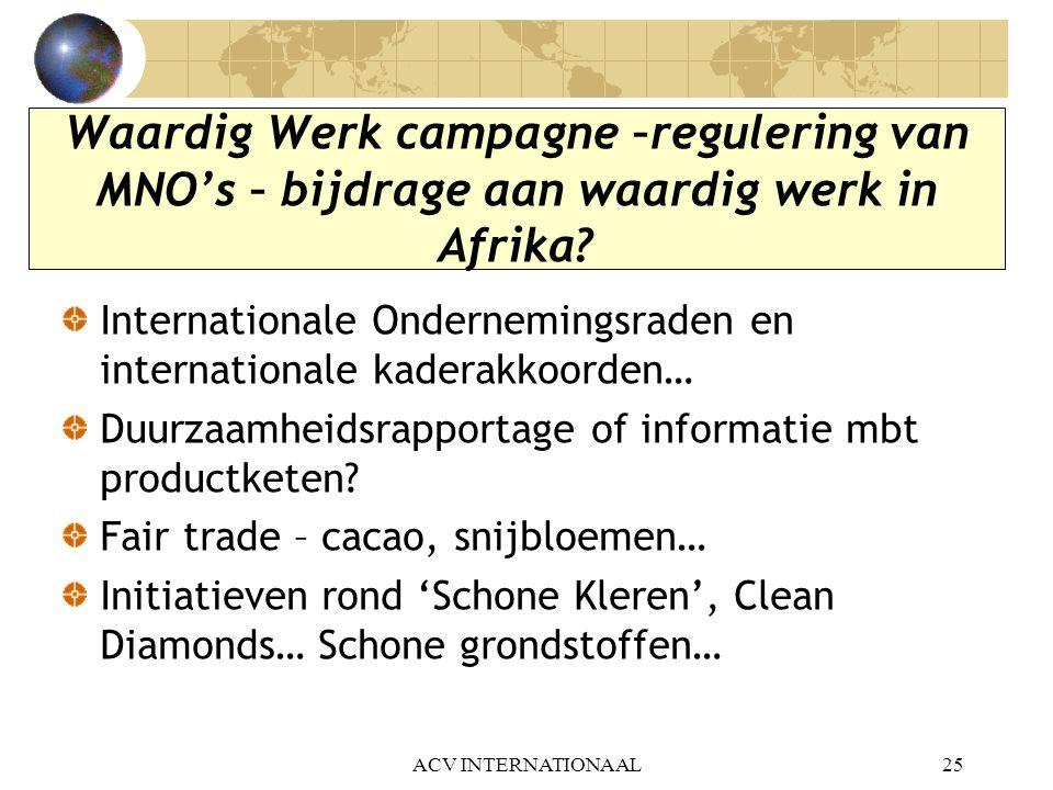 Waardig Werk campagne –regulering van MNO's – bijdrage aan waardig werk in Afrika? Internationale Ondernemingsraden en internationale kaderakkoorden…