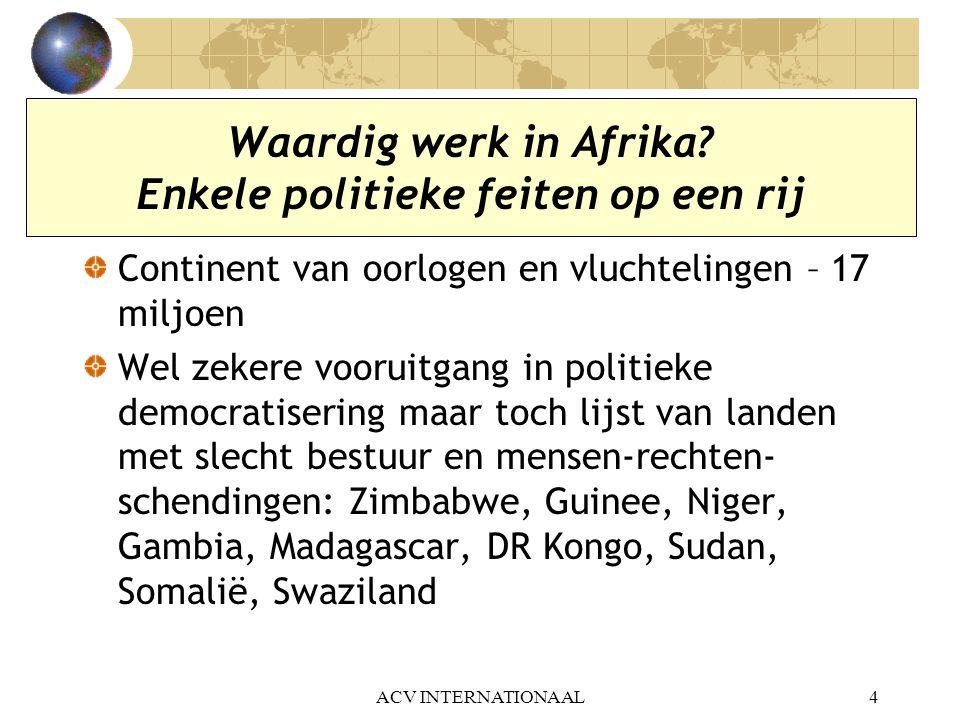 ACV INTERNATIONAAL15 Uitdagingen voor de Afrikaanse vakbeweging… a)Nood aan organisatie van de werknemers in de formele economie maar ook in informele economie Veel goede voorbeelden in West-Afrika.