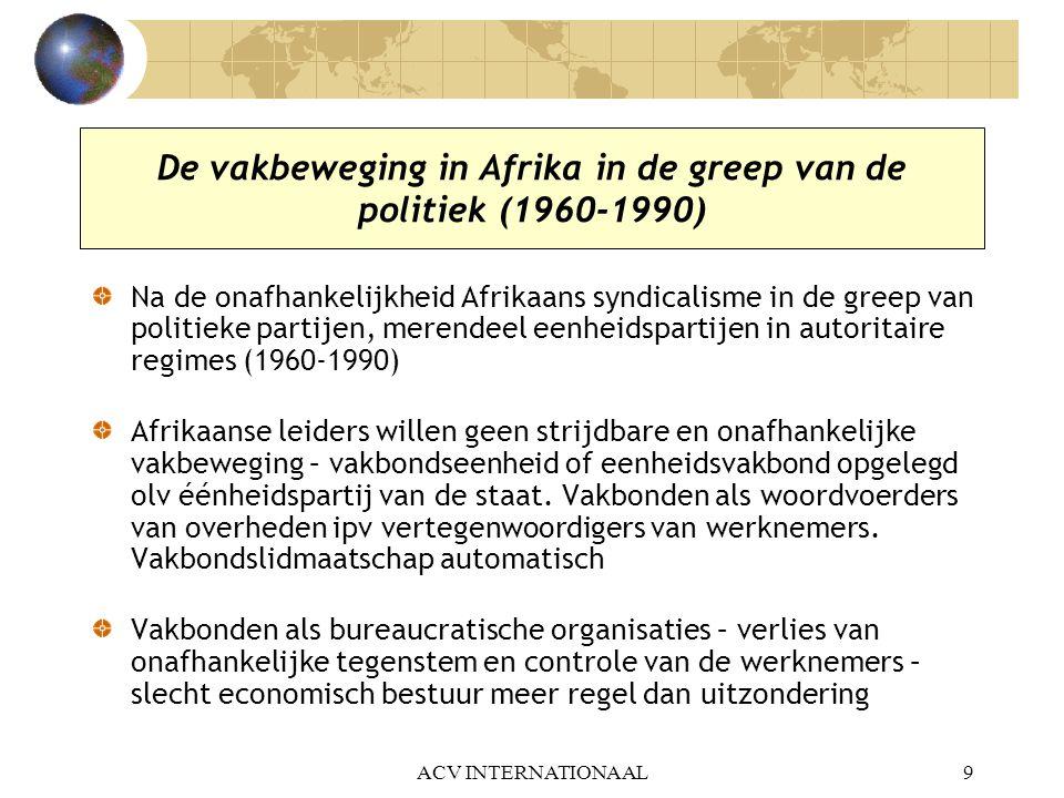Werkplan van IVV Afrika Verdediging mensen- en syndicale rechten Socio-economische capaciteitsversterking en lobby-werk Gendergelijkheid Sociale bescherming, veiligheid en gezondheid op het werk, HIVAIDS ACV INTERNATIONAAL20