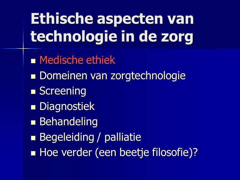 (Medische) ethiek  Historisch: technologie-kritiek  Van den Berg 1969  'technologische imperatief' –Alles moet wat kan –Aanzetten makkelijker dan uitzetten  De-humaniserende technologie –Intensive-care –Verpleeghuiszorg