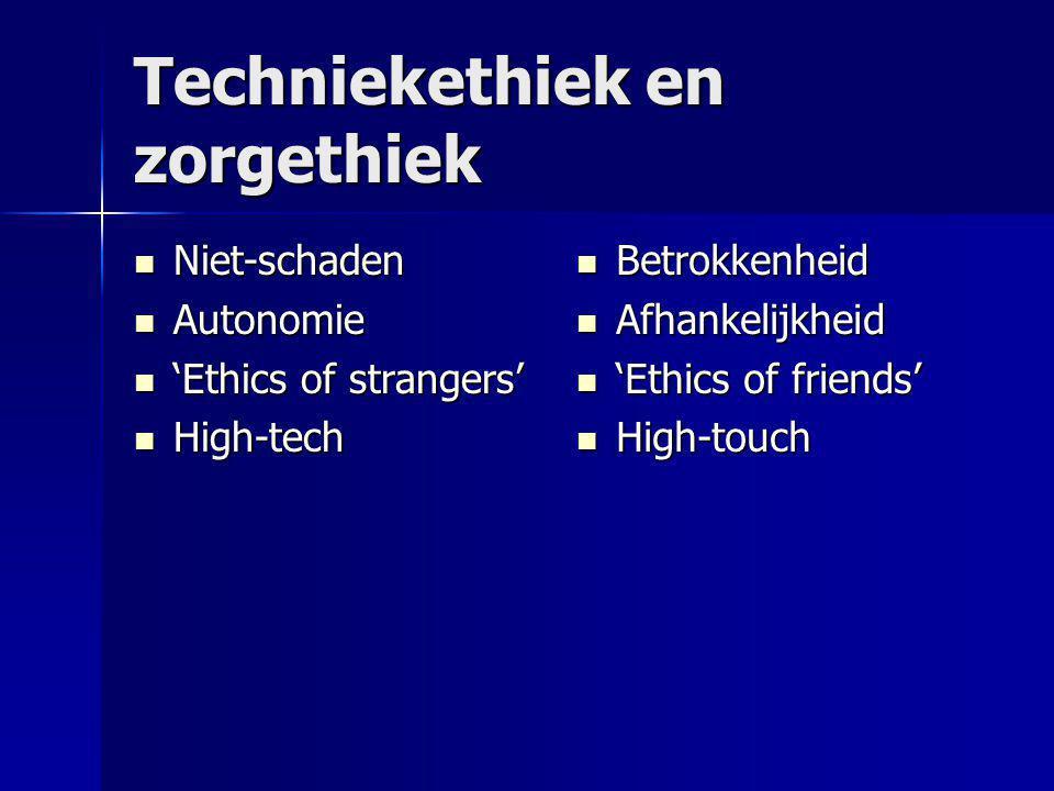 Techniekethiek en zorgethiek  Niet-schaden  Autonomie  'Ethics of strangers'  High-tech  Betrokkenheid  Afhankelijkheid  'Ethics of friends'  High-touch