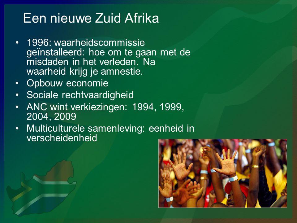 Een nieuwe Zuid Afrika •1996: waarheidscommissie geïnstalleerd: hoe om te gaan met de misdaden in het verleden. Na waarheid krijg je amnestie. •Opbouw