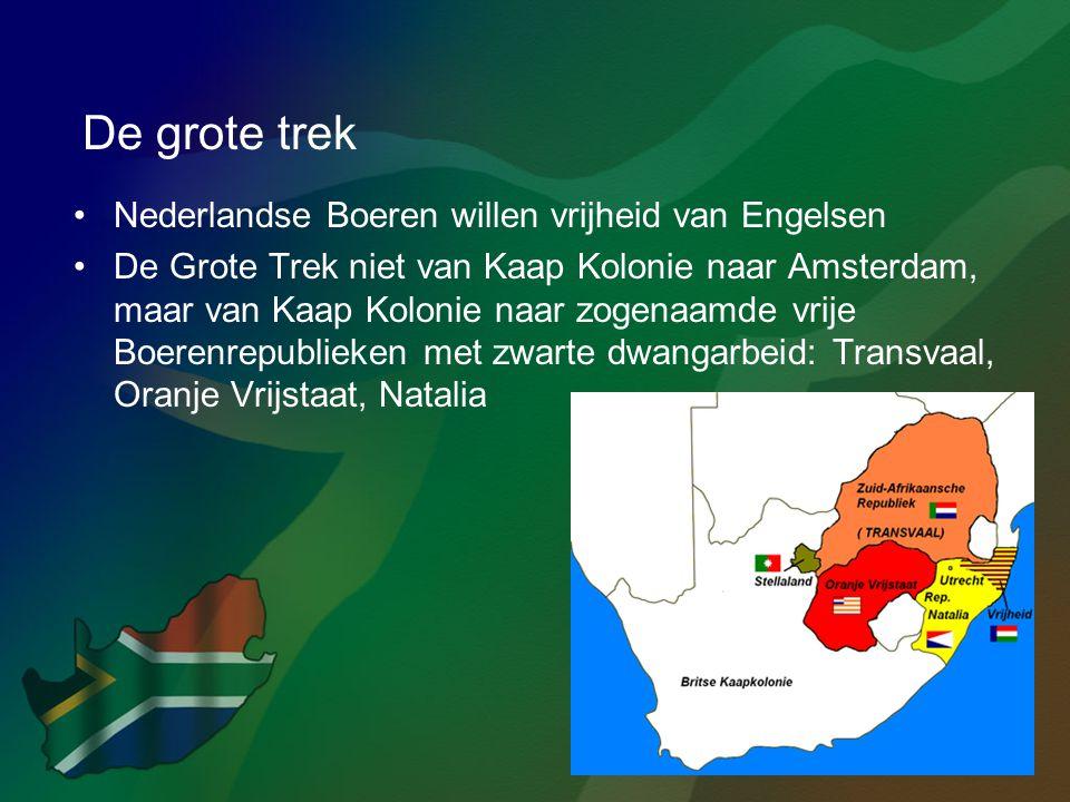 De grote trek •Nederlandse Boeren willen vrijheid van Engelsen •De Grote Trek niet van Kaap Kolonie naar Amsterdam, maar van Kaap Kolonie naar zogenaa