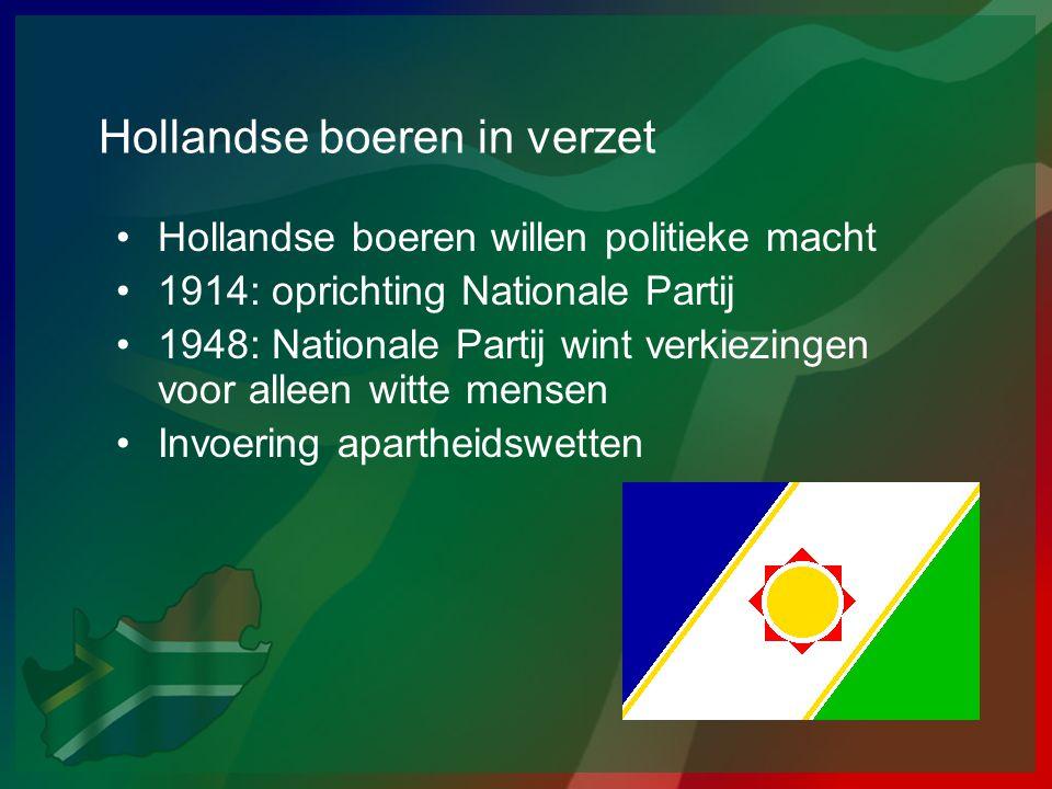 Hollandse boeren in verzet •Hollandse boeren willen politieke macht •1914: oprichting Nationale Partij •1948: Nationale Partij wint verkiezingen voor