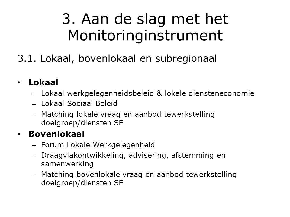 3. Aan de slag met het Monitoringinstrument 3.1. Lokaal, bovenlokaal en subregionaal • Lokaal – Lokaal werkgelegenheidsbeleid & lokale diensteneconomi