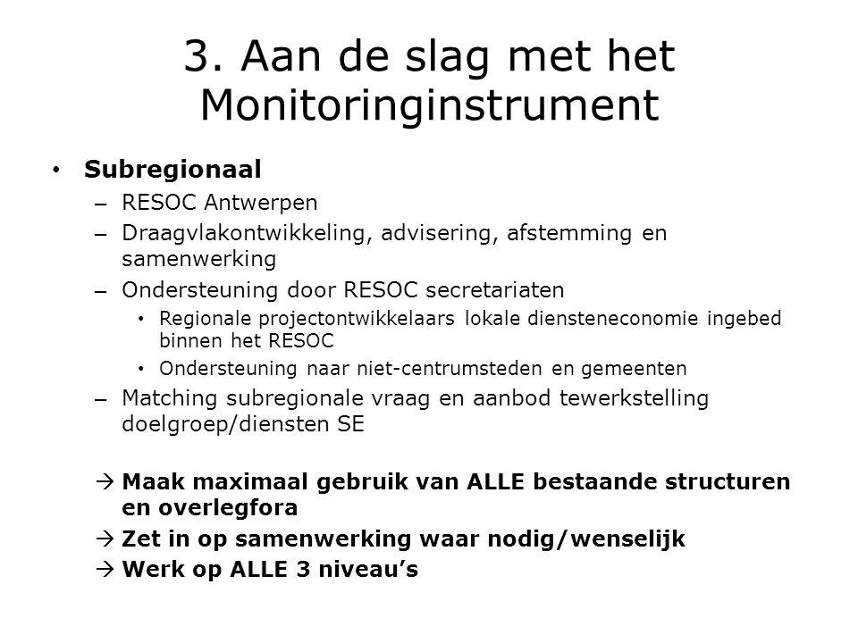 3. Aan de slag met het Monitoringinstrument • Subregionaal – RESOC Antwerpen – Draagvlakontwikkeling, advisering, afstemming en samenwerking – Onderst