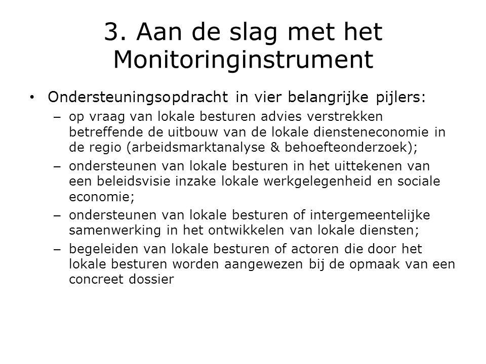 3. Aan de slag met het Monitoringinstrument • Ondersteuningsopdracht in vier belangrijke pijlers: – op vraag van lokale besturen advies verstrekken be
