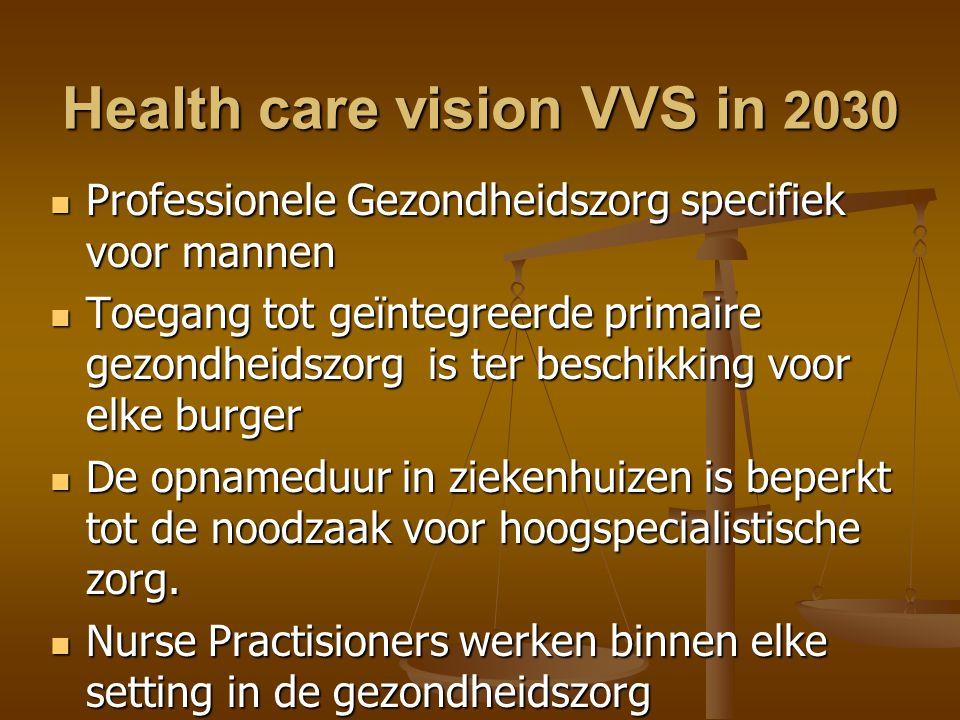 Health care vision VVS in 2030  Professionele Gezondheidszorg specifiek voor mannen  Toegang tot geïntegreerde primaire gezondheidszorg is ter beschikking voor elke burger  De opnameduur in ziekenhuizen is beperkt tot de noodzaak voor hoogspecialistische zorg.