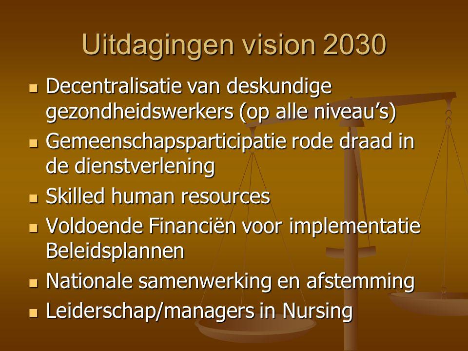Uitdagingen vision 2030  Decentralisatie van deskundige gezondheidswerkers (op alle niveau's)  Gemeenschapsparticipatie rode draad in de dienstverlening  Skilled human resources  Voldoende Financiën voor implementatie Beleidsplannen  Nationale samenwerking en afstemming  Leiderschap/managers in Nursing