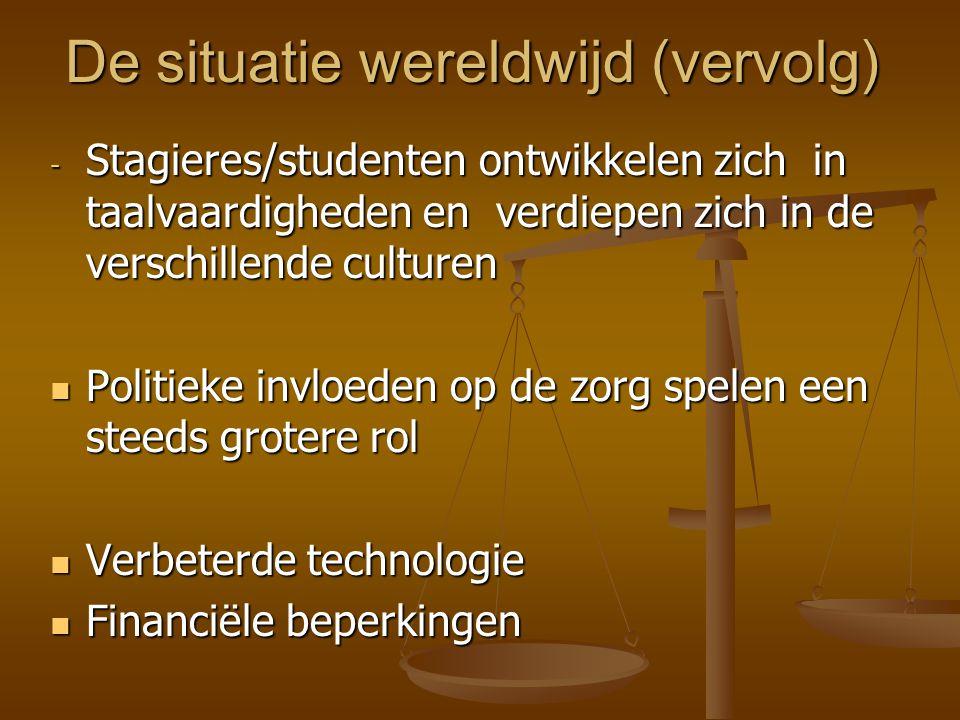 De situatie wereldwijd (vervolg) - Stagieres/studenten ontwikkelen zich in taalvaardigheden en verdiepen zich in de verschillende culturen  Politieke invloeden op de zorg spelen een steeds grotere rol  Verbeterde technologie  Financiële beperkingen