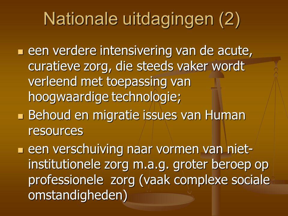 Nationale uitdagingen (2)  een verdere intensivering van de acute, curatieve zorg, die steeds vaker wordt verleend met toepassing van hoogwaardige technologie;  Behoud en migratie issues van Human resources  een verschuiving naar vormen van niet- institutionele zorg m.a.g.