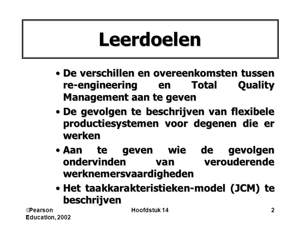  Pearson Education, 2002 Hoofdstuk 143 •Het model voor sociale informatieverwerking af te zetten tegen het taakkarakteristieken-model (JCM) •Uit te leggen hoe werk verrijkt kan worden •Te verklaren hoe taken/banen kunnen verouderen Leerdoelen