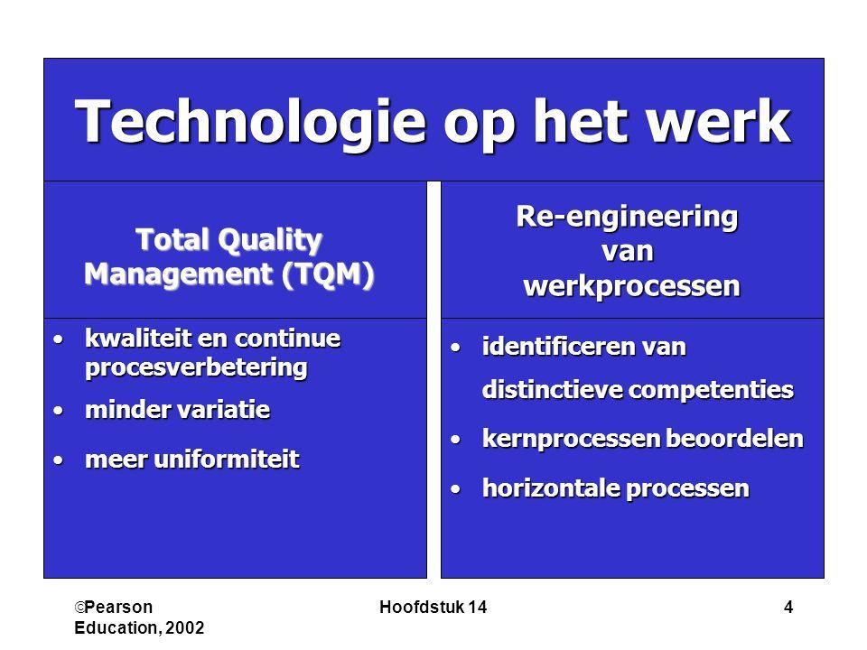  Pearson Education, 2002 Hoofdstuk 145 • • Continue verandering • Verbeteren • Bottom up • • Radicale verandering • Herontwerpen •Top down Re-engineering versus TQM TQMRe-engineering
