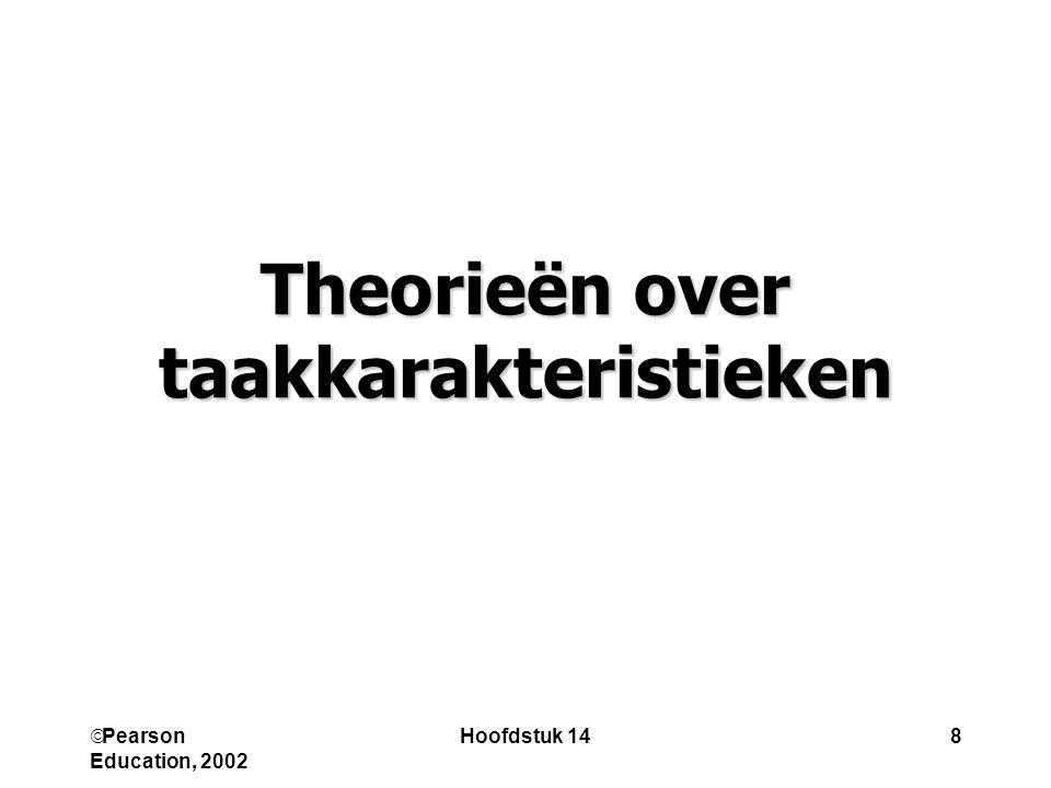  Pearson Education, 2002 Hoofdstuk 149 Theorie van de vereiste taakattributen variatie kennis en vaardigheden autonomie vereiste sociale interactie verantwoor-delijkheid vrijwillige sociale socialeinteractie