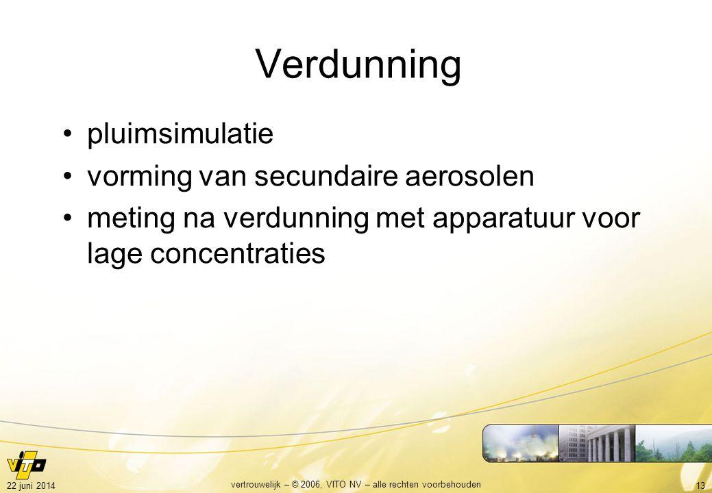 1322 juni 2014 vertrouwelijk – © 2006, VITO NV – alle rechten voorbehouden Verdunning •pluimsimulatie •vorming van secundaire aerosolen •meting na verdunning met apparatuur voor lage concentraties