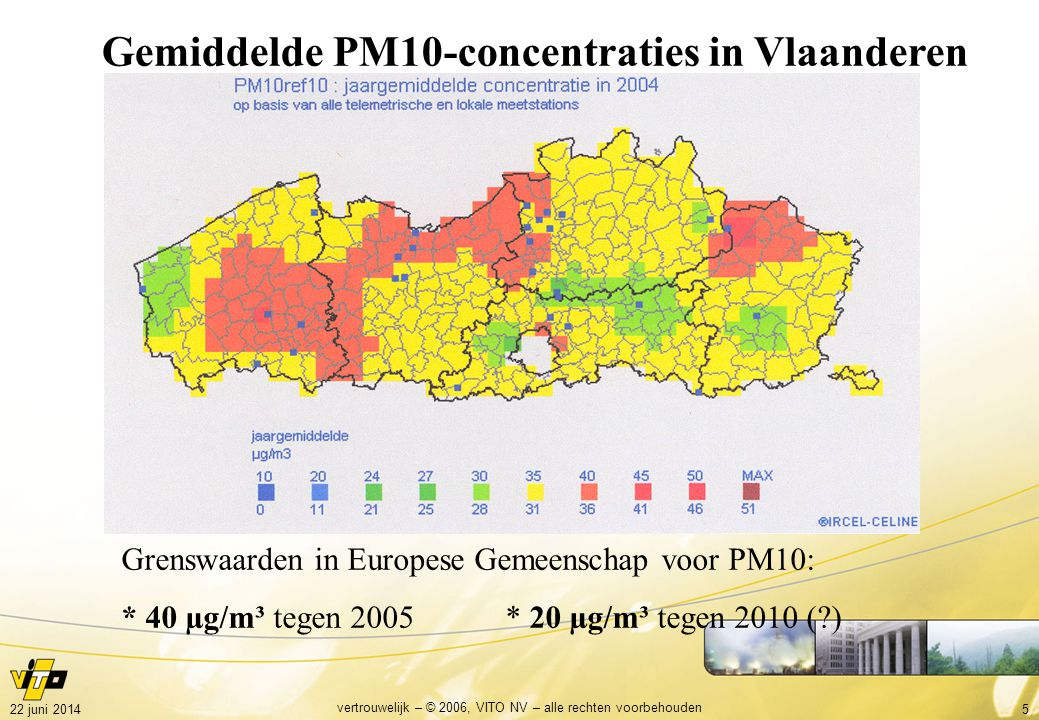 522 juni 2014 vertrouwelijk – © 2006, VITO NV – alle rechten voorbehouden Gemiddelde PM10-concentraties in Vlaanderen Grenswaarden in Europese Gemeenschap voor PM10: * 40 µg/m³ tegen 2005 * 20 µg/m³ tegen 2010 (?)