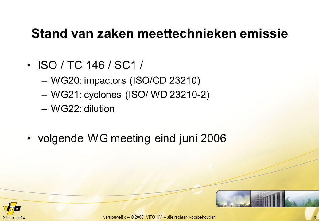 722 juni 2014 vertrouwelijk – © 2006, VITO NV – alle rechten voorbehouden Meting met impactor