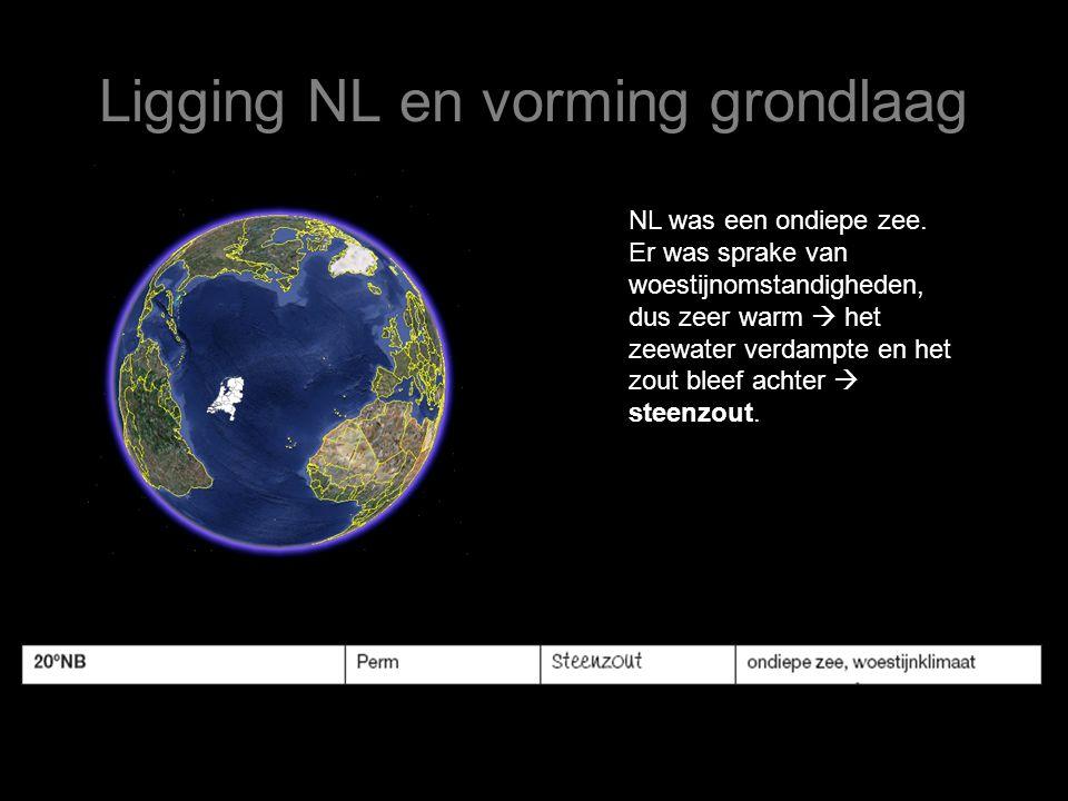 Ligging NL en vorming grondlaag NL was een ondiepe zee. Er was sprake van woestijnomstandigheden, dus zeer warm  het zeewater verdampte en het zout b