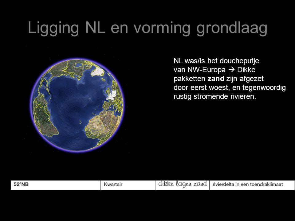 Ligging NL en vorming grondlaag NL was/is het doucheputje van NW-Europa  Dikke pakketten zand zijn afgezet door eerst woest, en tegenwoordig rustig s