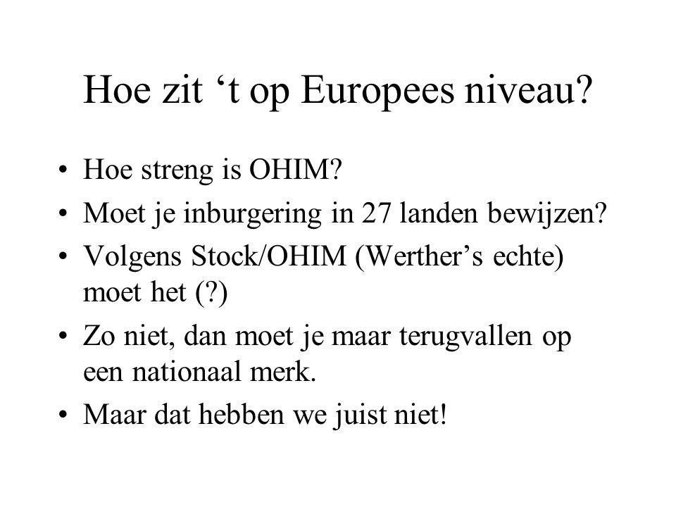 Hoe zit 't op Europees niveau? •Hoe streng is OHIM? •Moet je inburgering in 27 landen bewijzen? •Volgens Stock/OHIM (Werther's echte) moet het (?) •Zo