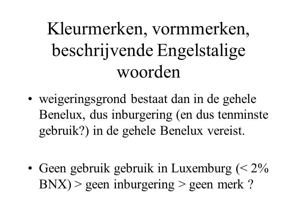 Kleurmerken, vormmerken, beschrijvende Engelstalige woorden •weigeringsgrond bestaat dan in de gehele Benelux, dus inburgering (en dus tenminste gebru