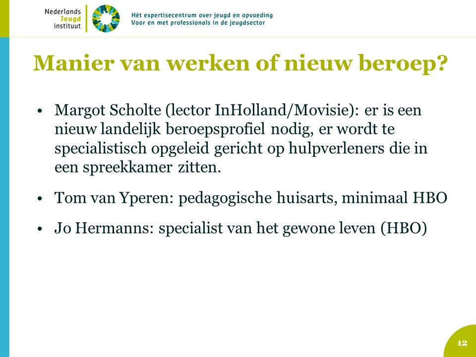 Manier van werken of nieuw beroep? •Margot Scholte (lector InHolland/Movisie): er is een nieuw landelijk beroepsprofiel nodig, er wordt te specialisti