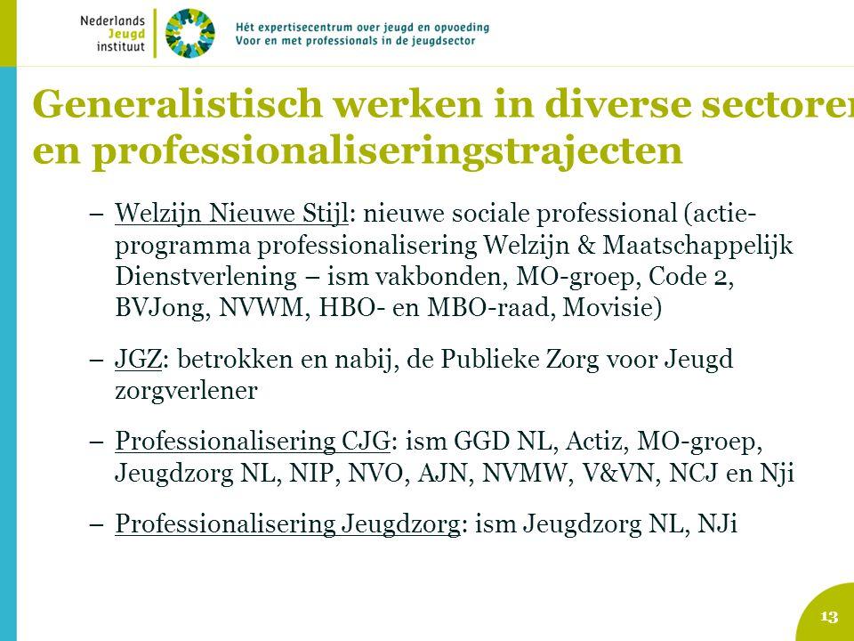 Generalistisch werken in diverse sectoren en professionaliseringstrajecten –Welzijn Nieuwe Stijl: nieuwe sociale professional (actie- programma profes