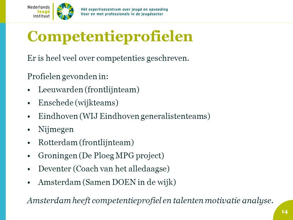 Competentieprofielen Er is heel veel over competenties geschreven. Profielen gevonden in: •Leeuwarden (frontlijnteam) •Enschede (wijkteams) •Eindhoven