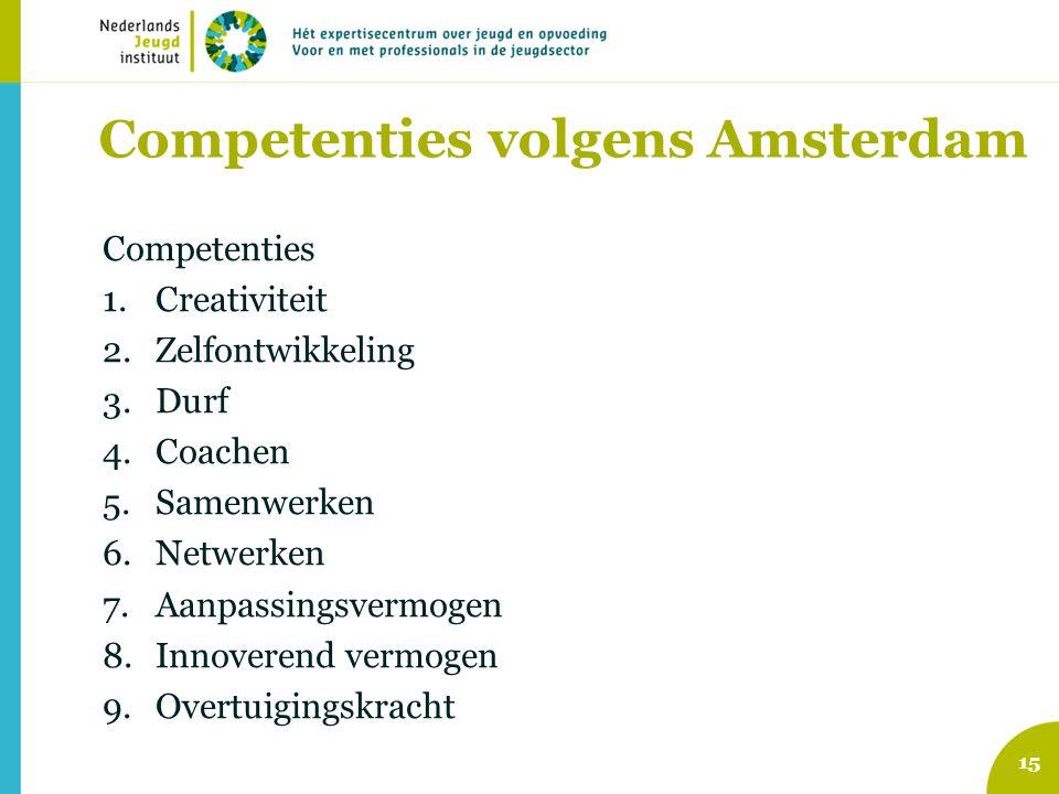 Competenties volgens Amsterdam Competenties 1.Creativiteit 2.Zelfontwikkeling 3.Durf 4.Coachen 5.Samenwerken 6.Netwerken 7.Aanpassingsvermogen 8.Innov