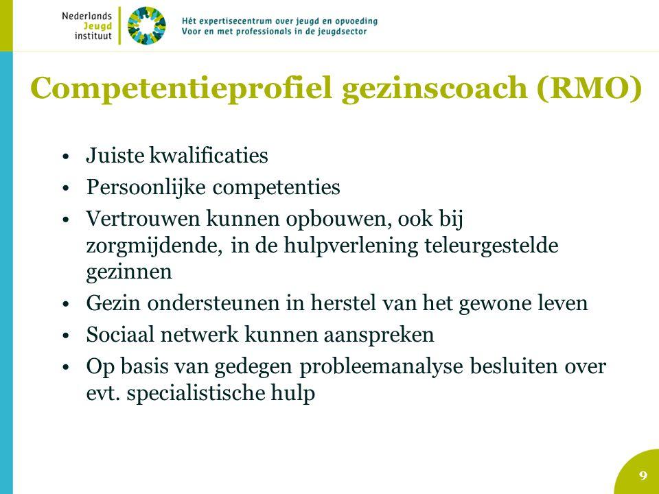 Competentieprofiel gezinscoach (RMO) •Juiste kwalificaties •Persoonlijke competenties •Vertrouwen kunnen opbouwen, ook bij zorgmijdende, in de hulpver