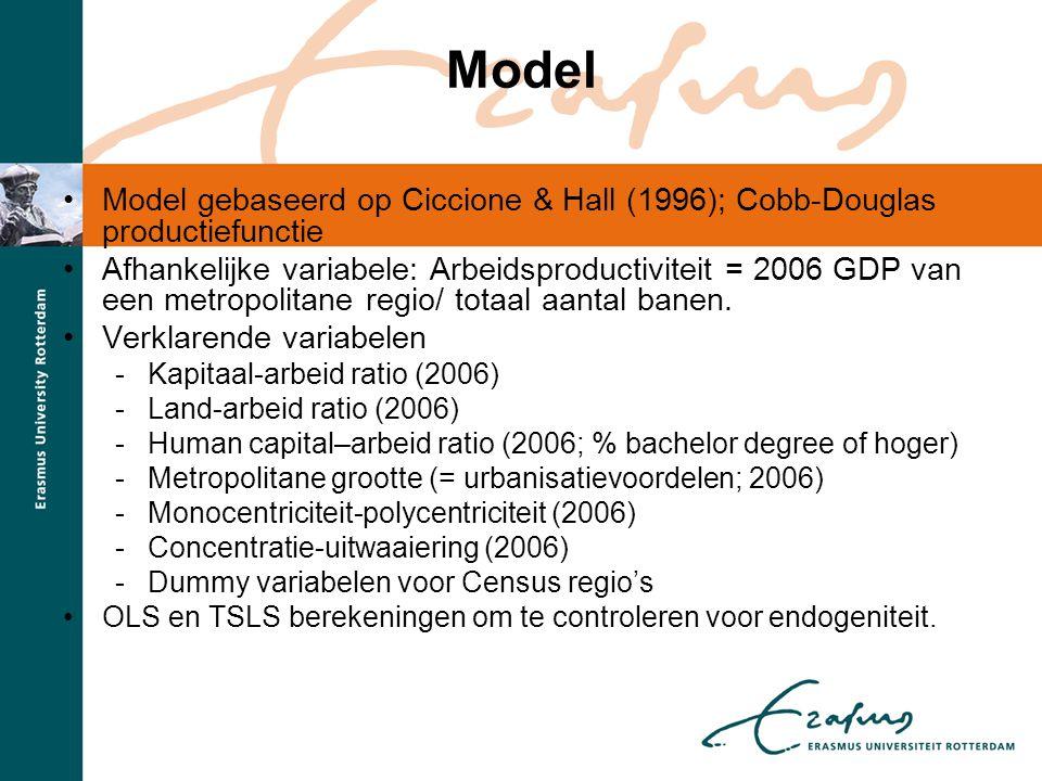 Model •Model gebaseerd op Ciccione & Hall (1996); Cobb-Douglas productiefunctie •Afhankelijke variabele: Arbeidsproductiviteit = 2006 GDP van een metr