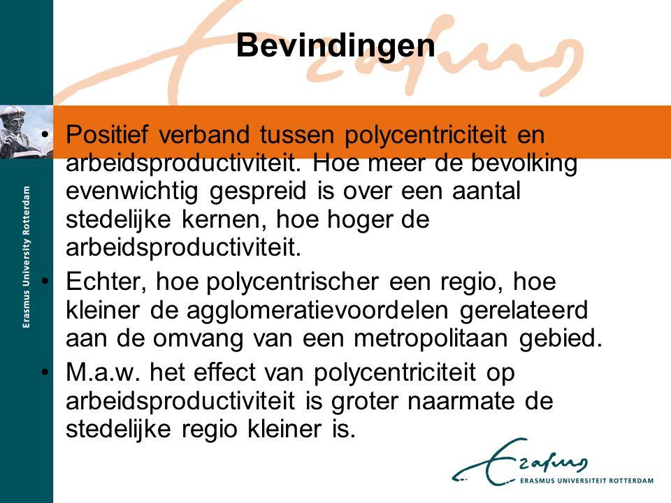 •Positief verband tussen polycentriciteit en arbeidsproductiviteit. Hoe meer de bevolking evenwichtig gespreid is over een aantal stedelijke kernen, h