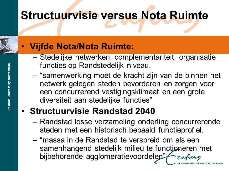"""Structuurvisie versus Nota Ruimte •Vijfde Nota/Nota Ruimte: –Stedelijke netwerken, complementariteit, organisatie functies op Randstedelijk niveau. –"""""""