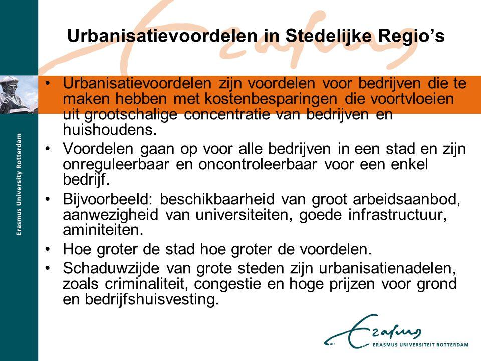 Urbanisatievoordelen in Stedelijke Regio's •In de literatuur leeft steeds meer het idee dat agglomeratie-effecten niet langer voorbehouden zijn aan de stad, maar zich spreiden over stedelijke regio's.