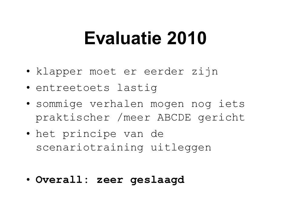 Evaluatie 2010 •klapper moet er eerder zijn •entreetoets lastig •sommige verhalen mogen nog iets praktischer /meer ABCDE gericht •het principe van de scenariotraining uitleggen •Overall: zeer geslaagd