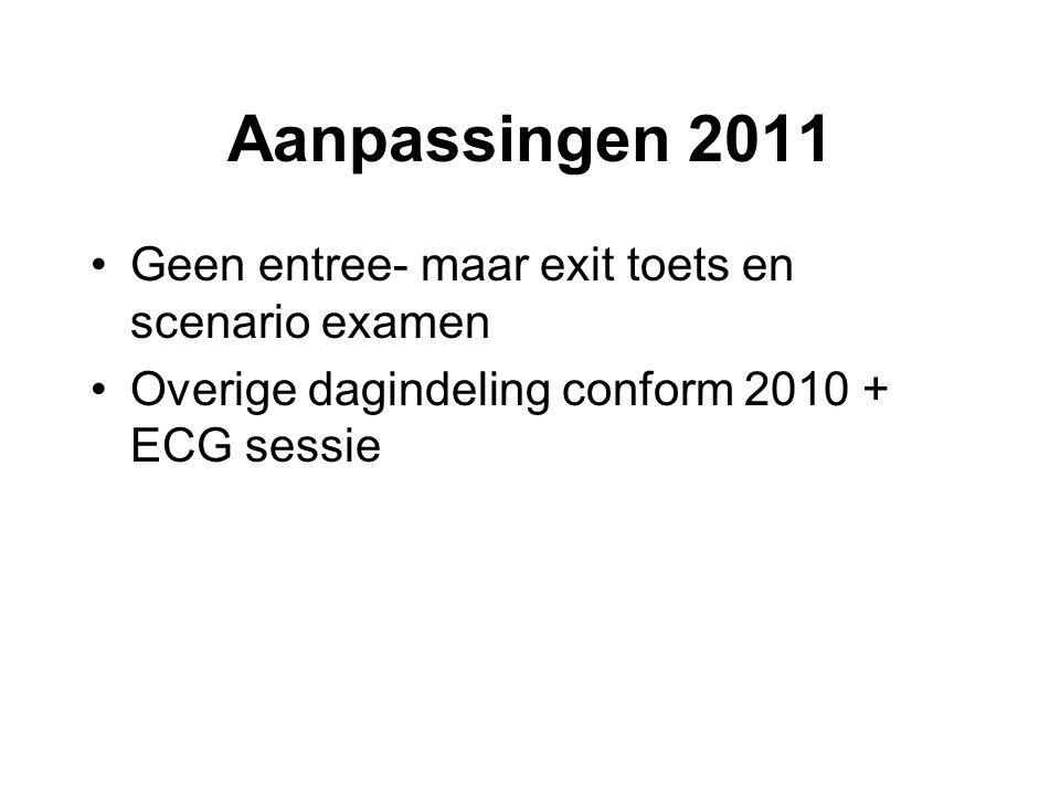 Aanpassingen 2011 •Geen entree- maar exit toets en scenario examen •Overige dagindeling conform 2010 + ECG sessie