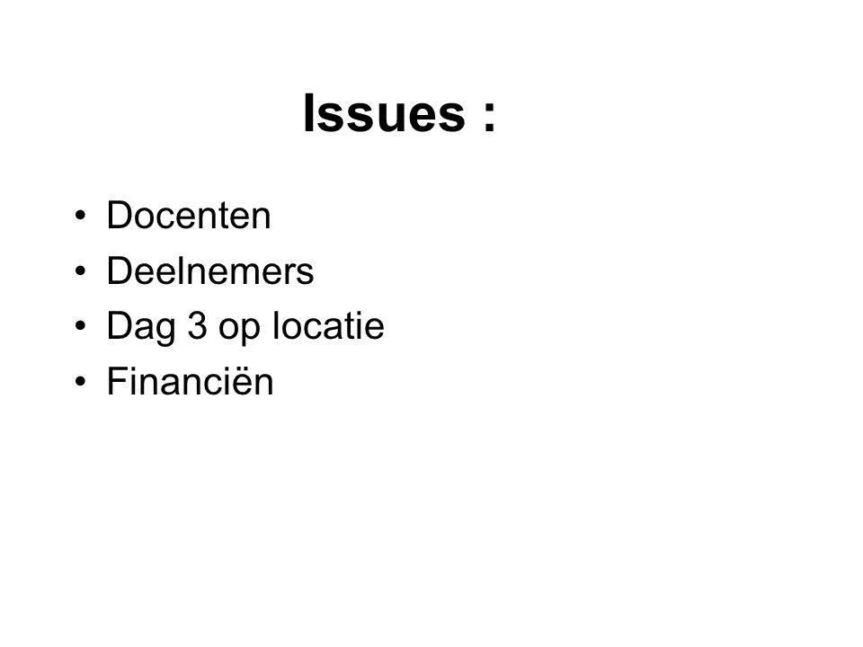 Issues : •Docenten •Deelnemers •Dag 3 op locatie •Financiën