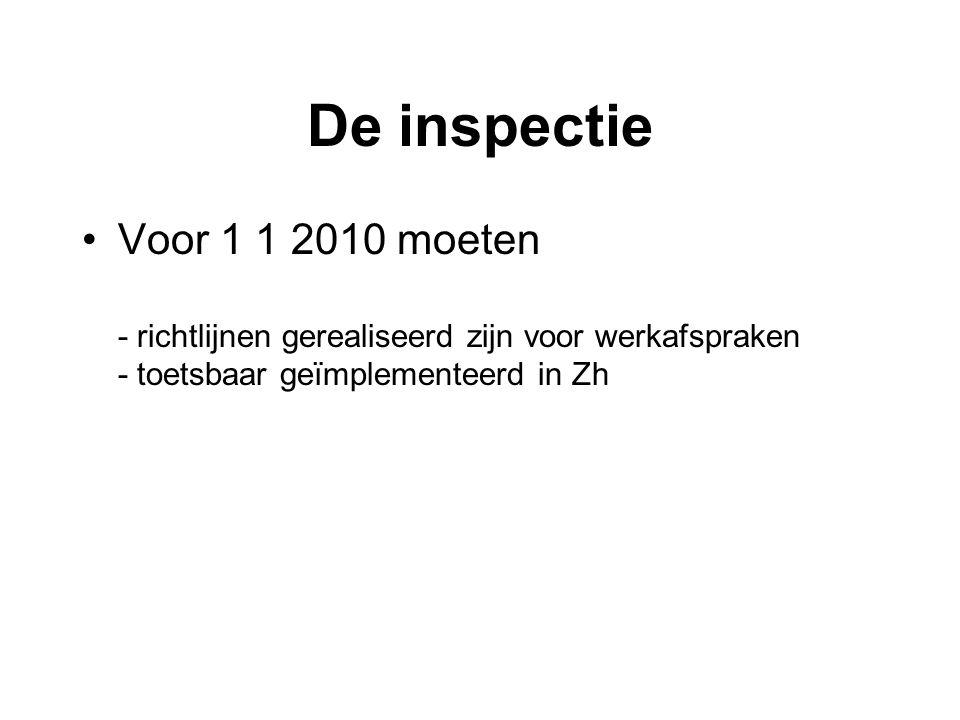 De inspectie •Voor 1 1 2010 moeten - richtlijnen gerealiseerd zijn voor werkafspraken - toetsbaar geïmplementeerd in Zh
