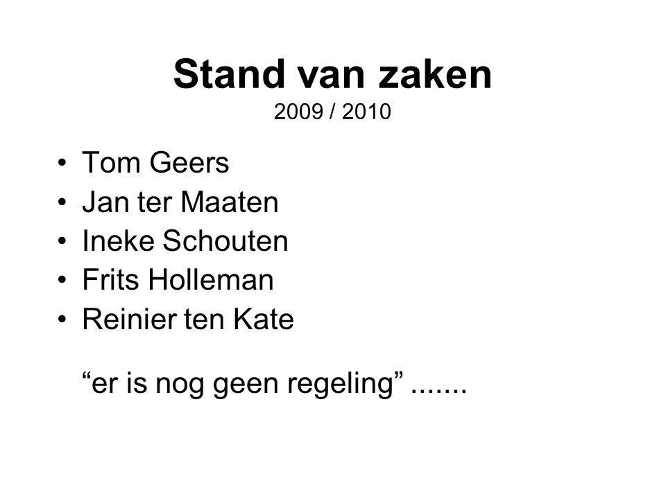 """Stand van zaken 2009 / 2010 •Tom Geers •Jan ter Maaten •Ineke Schouten •Frits Holleman •Reinier ten Kate """"er is nog geen regeling""""......."""