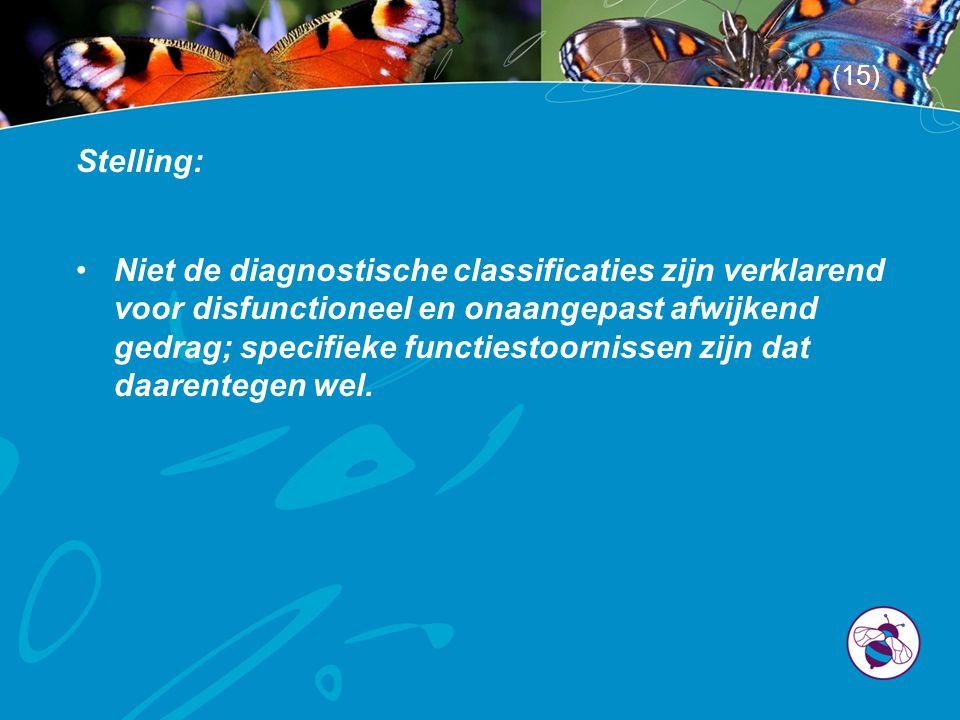 Stelling: •Niet de diagnostische classificaties zijn verklarend voor disfunctioneel en onaangepast afwijkend gedrag; specifieke functiestoornissen zijn dat daarentegen wel.