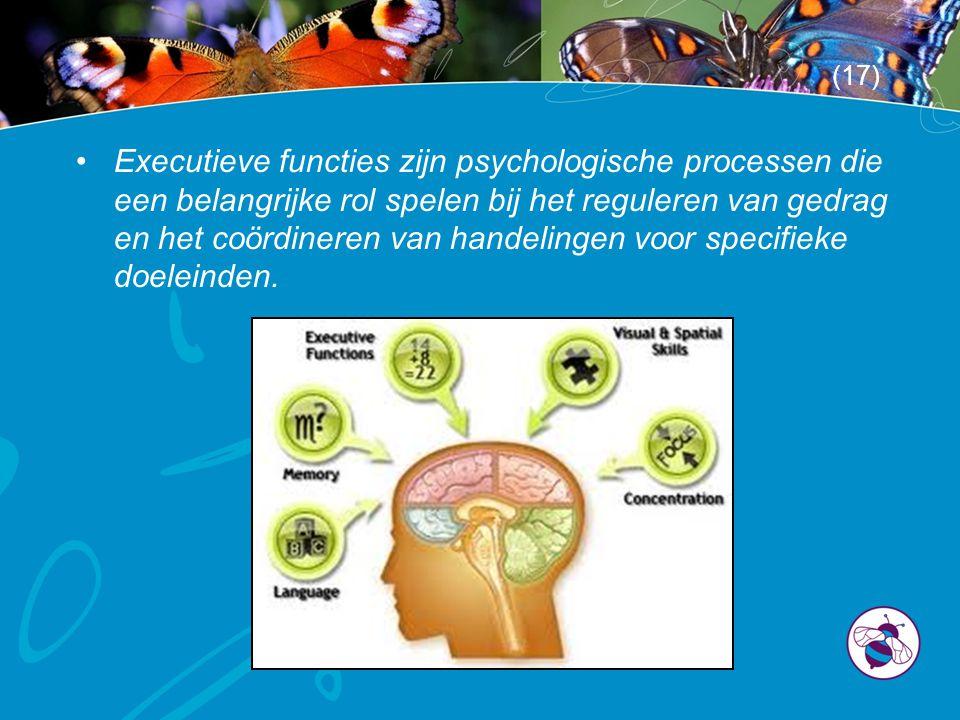 •Executieve functies zijn psychologische processen die een belangrijke rol spelen bij het reguleren van gedrag en het coördineren van handelingen voor