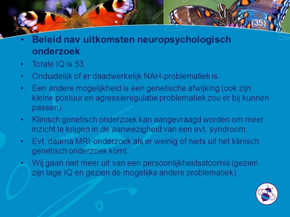 •Beleid nav uitkomsten neuropsychologisch onderzoek •Totale IQ is 53. •Onduidelijk of er daadwerkelijk NAH-problematiek is. •Een andere mogelijkheid i