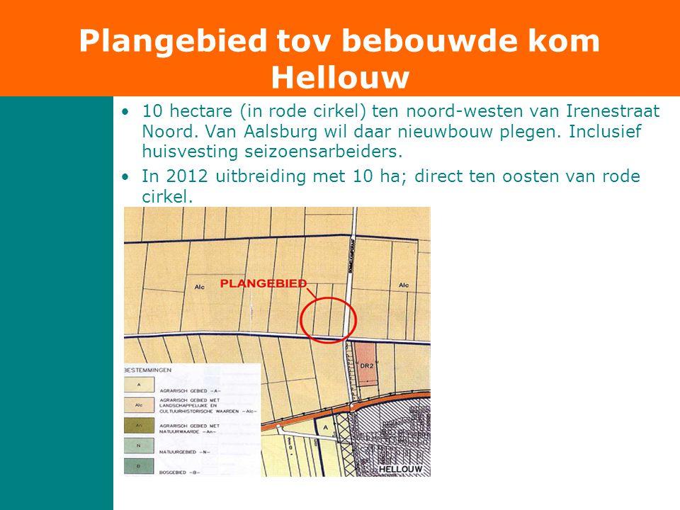 •10 hectare (in rode cirkel) ten noord-westen van Irenestraat Noord. Van Aalsburg wil daar nieuwbouw plegen. Inclusief huisvesting seizoensarbeiders.