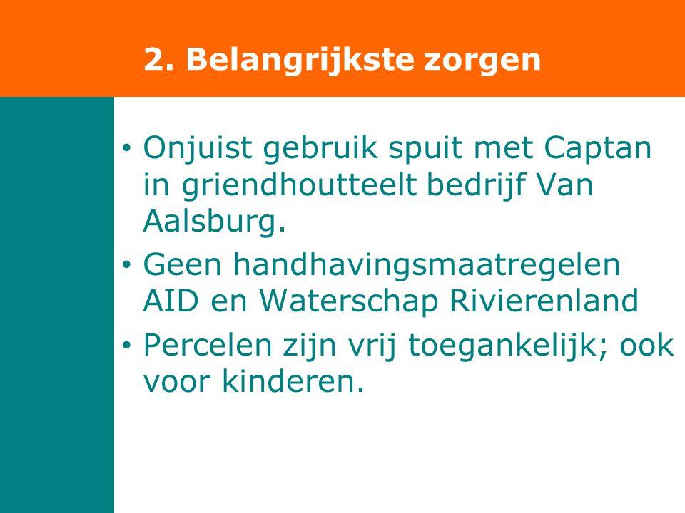 • Onjuist gebruik spuit met Captan in griendhoutteelt bedrijf Van Aalsburg. • Geen handhavingsmaatregelen AID en Waterschap Rivierenland • Percelen zi
