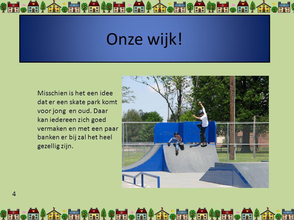 Onze wijk.Misschien is het een idee dat er een skate park komt voor jong en oud.